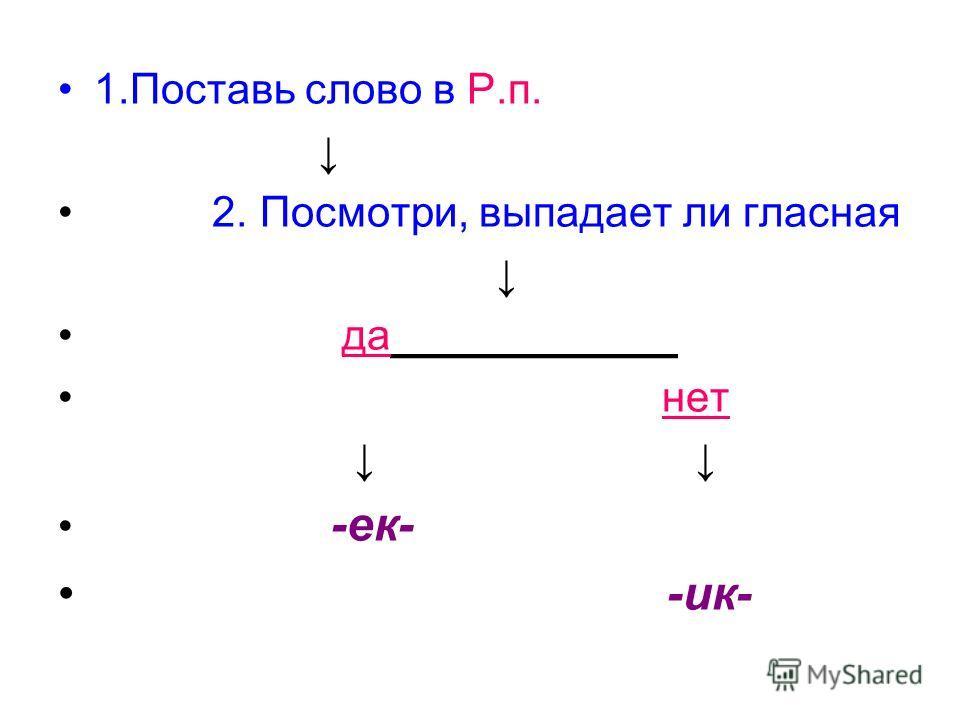 1. Поставь слово в Р.п. 2. Посмотри, выпадает ли гласная да____________ нет -ек- -ик-