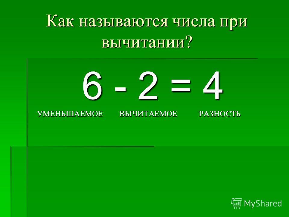 Как называются числа при вычитании? 6 - 2 = 4 УМЕНЬШАЕМОЕ ВЫЧИТАЕМОЕ РАЗНОСТЬ