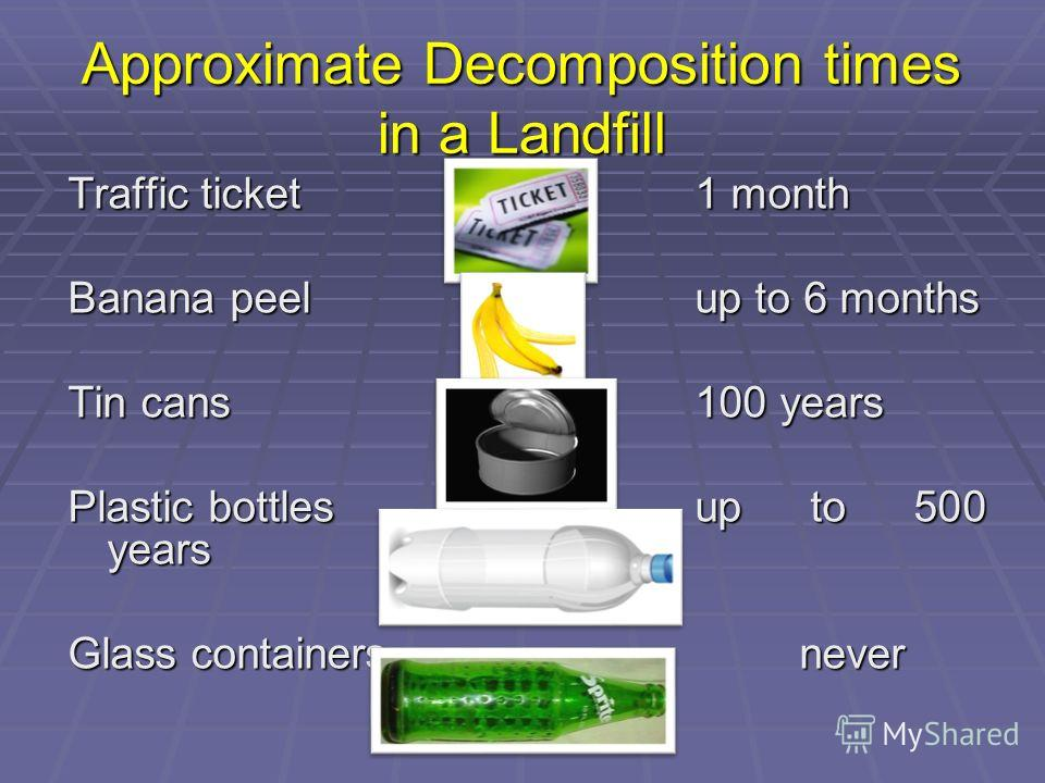 Approximate Decomposition times in a Landfill Traffic ticket1 month Banana peelup to 6 months Tin cans100 years Plastic bottlesup to 500 years Glass containersnever