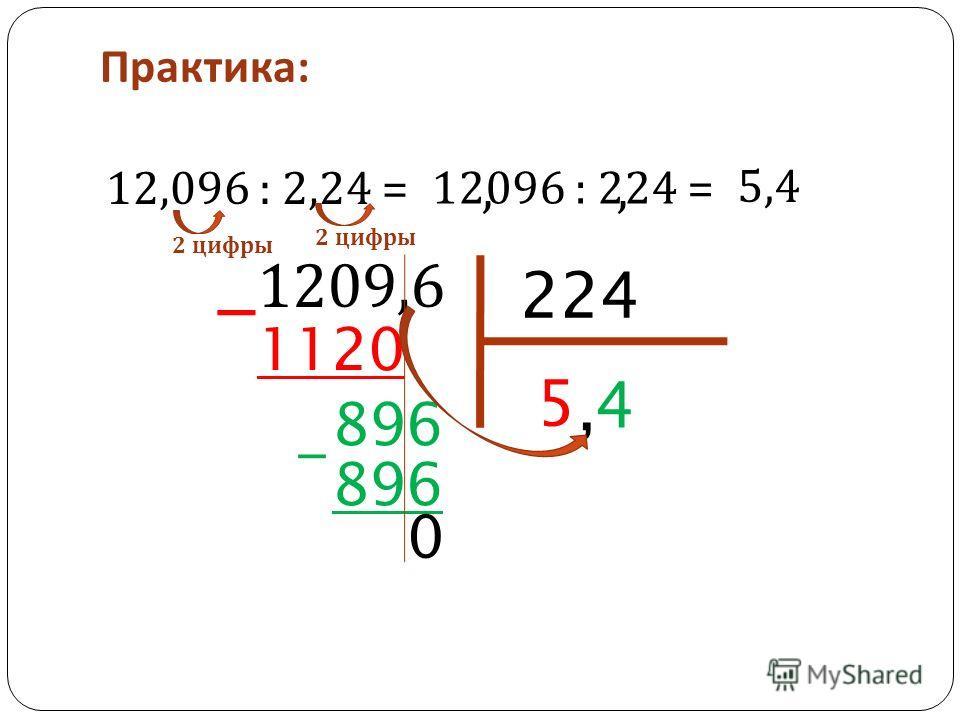 Практика : 12,096 : 2,24 = 2 цифры 12096 : 224 =,, 224 5 1120 4 896 - 0, 1209,6 5,4 -