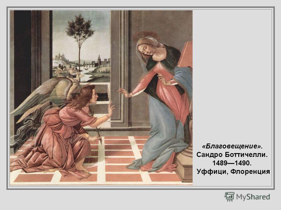 «Благовещение », Фра Беато Анжелико, 14301432, Прадо. На заднем плане архангел Михаил изгоняет из рая Адама и Еву после грехопадения, (от результатов которого будет спасать человечество зачинающийся в этот момент Иисус). Мария трактуется как «новая Е