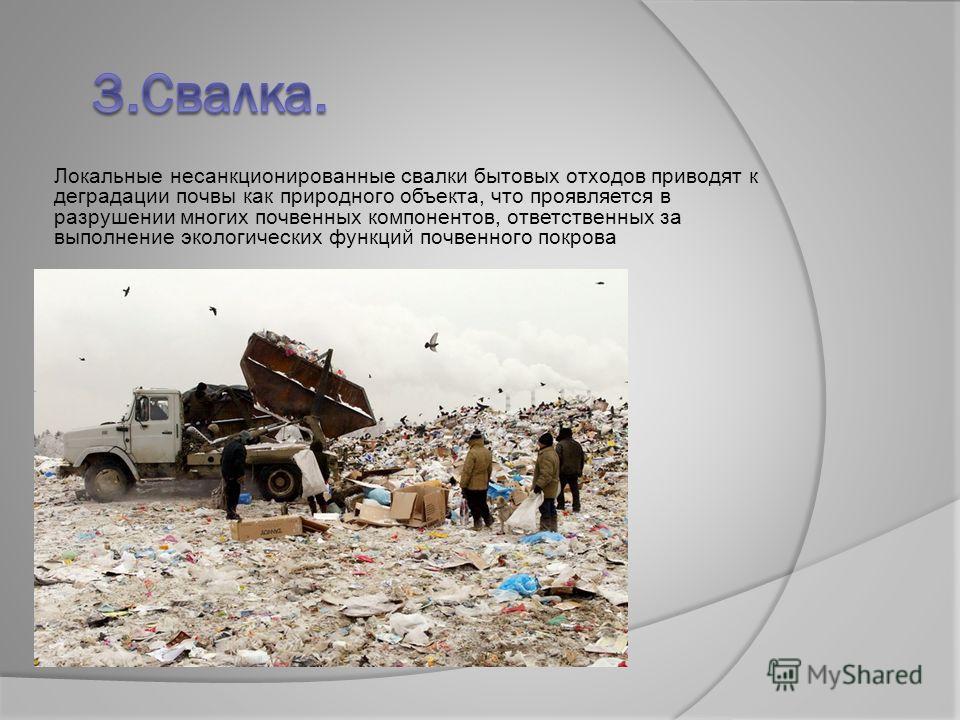 Локальные несанкционированные свалки бытовых отходов приводят к деградации почвы как природного объекта, что проявляется в разрушении многих почвенных компонентов, ответственных за выполнение экологических функций почвенного покрова