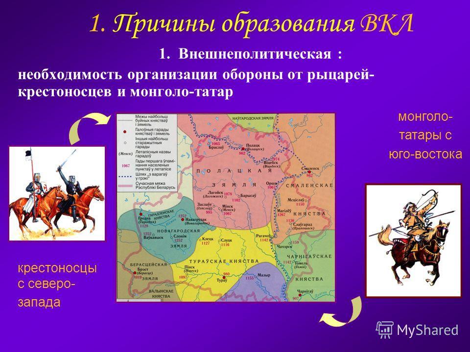1. Причины образования ВКЛ 1. Внешнеполитическая : необходимость организации обороны от рыцарей- крестоносцев и монголо-татар крестоносцы с северо- запада монголо- татары с юго-востока