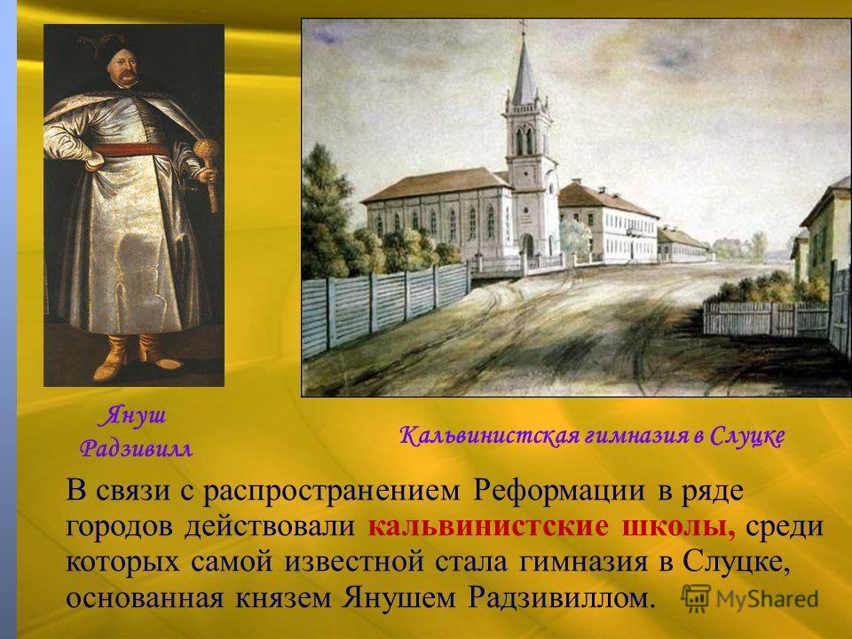 В связи с распространением Реформации в ряде городов действовали кальвинистские школы, среди которых самой известной стала гимназия в Слуцке, основанная князем Янушем Радзивиллом. Януш Радзивилл Кальвинистская гимназия в Слуцке