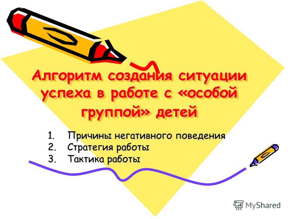 Алгоритм создания ситуации успеха в работе с «особой группой» детей 1. Причины негативного поведения 2. Стратегия работы 3. Тактика работы