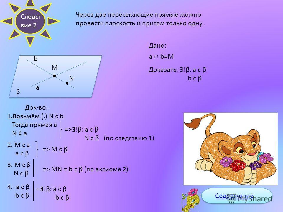 Через прямую и точку, не лежащую на ней, проходит плоскость и при том только одна. а N K M Дано : Прямая а (.)М с а Доказать : Существует такая плоскость: а с М с 2. N c α K c α =>NK c α (по 2 аксиоме) 1. Возьмем (.)N и (.)K с а Ǝ!α: N c α K c α M c