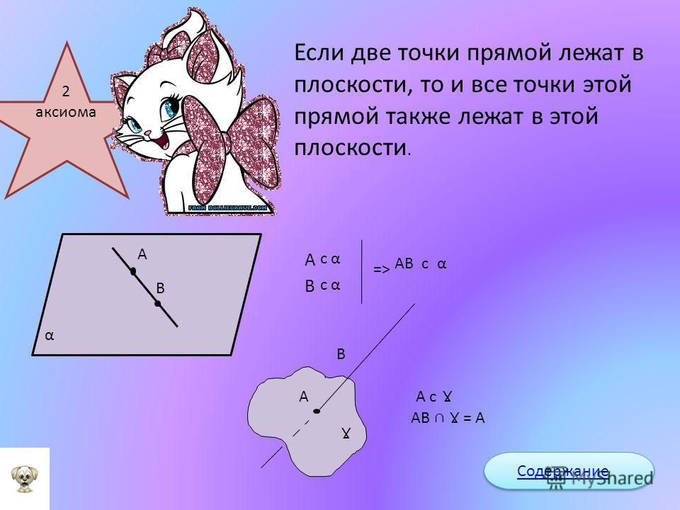 Через любые три точки, не лежащие на одной прямой, можно провести плоскость и при том только одну. А В С ! α : A c B c C c α Содержание 1 аксиома