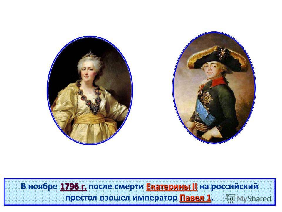 1796 г.Екатерины II Павел 1 В ноябре 1796 г. после смерти Екатерины II на российский престол взошел император Павел 1.