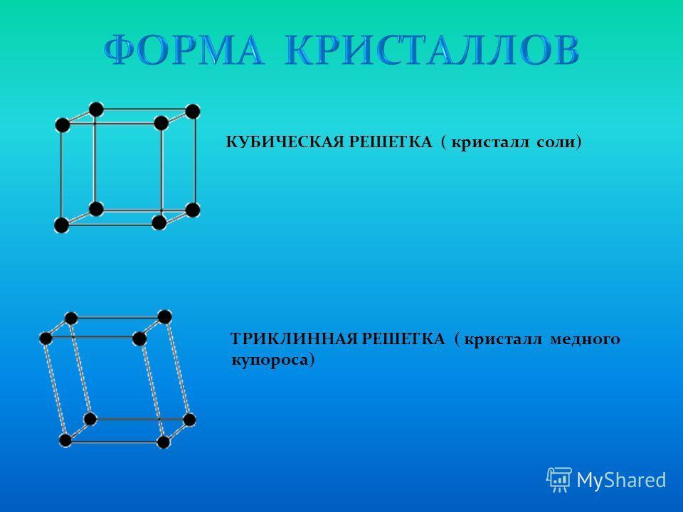 КУБИЧЕСКАЯ РЕШЕТКА ( кристалл соли) ТРИКЛИННАЯ РЕШЕТКА ( кристалл медного купороса)