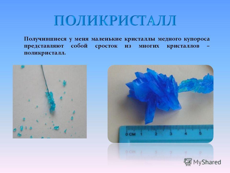 Получившиеся у меня маленькие кристаллы медного купороса представляют собой сросток из многих кристаллов – поликристалл.