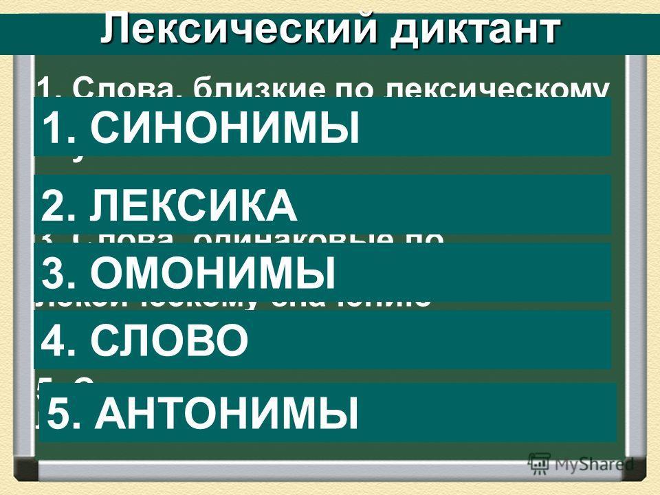 Лексический диктант 1. Слова, близкие по лексическому значению, но различные по звучанию 2. Словарный состав языка 3. Слова, одинаковые по звучанию, но различные по лексическому значению 4. Основная единица языка 5. Слова, противоположные по лексичес