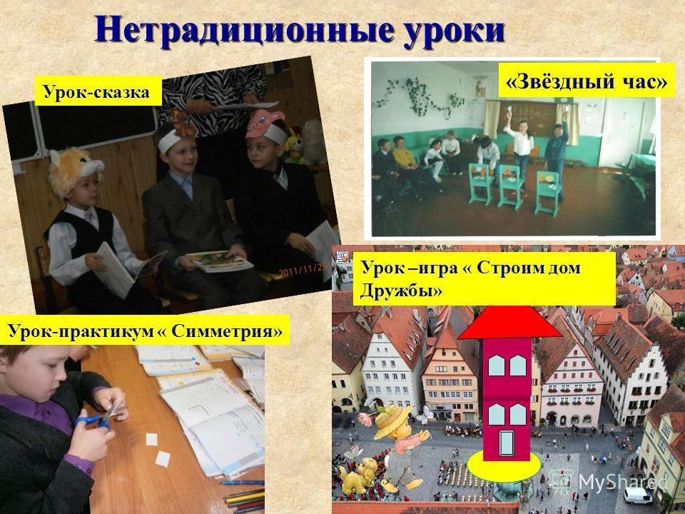 Урок-сказка Нетрадиционные уроки Урок-практикум « Симметрия» Урок –игра « Строим дом Дружбы» «Звёздный час» 12