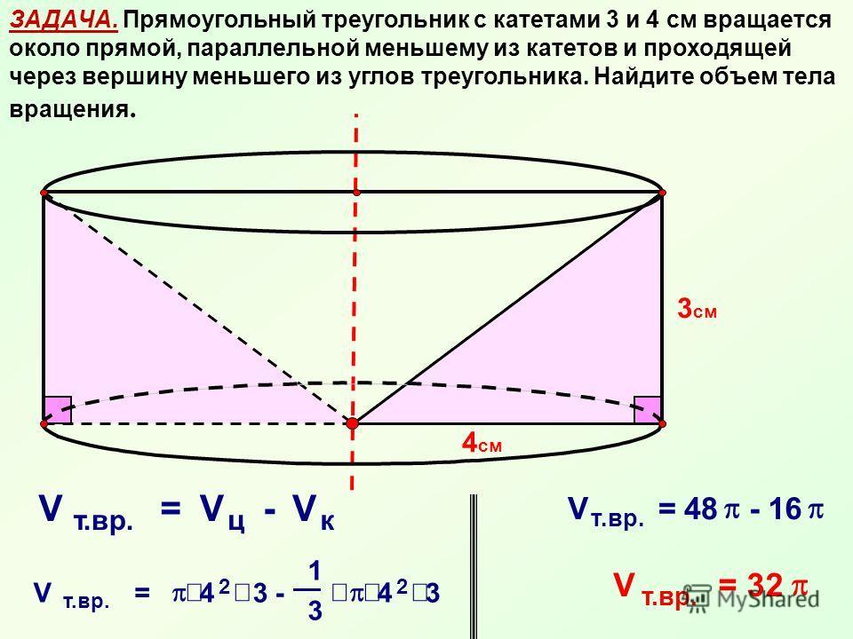 ЗАДАЧА. Прямоугольный треугольник с катетами 3 и 4 см вращается около прямой, параллельной меньшему из катетов и проходящей через вершину меньшего из углов треугольника. Найдите объем тела вращения. 4 см 3 см V т.вр. =V ц -V к V = 4 2 3 - 1 3 4 2 3 V