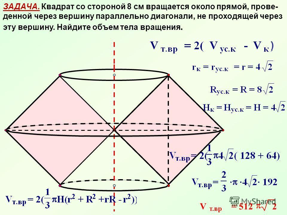 ЗАДАЧА. Квадрат со стороной 8 см вращается около прямой, прове- денной через вершину параллельно диагонали, не проходящей через эту вершину. Найдите объем тела вращения. ) V т.вр = 512 2