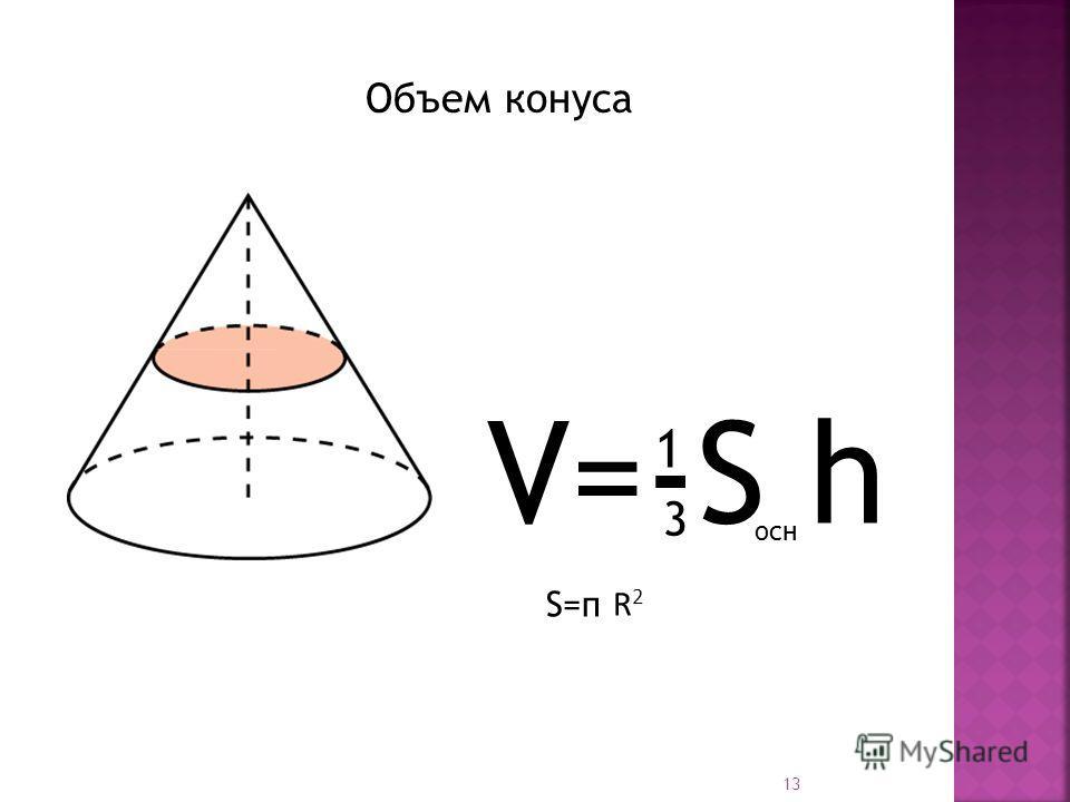 V=-S h 1 3 осн Объем конуса 13 S=п R2R2