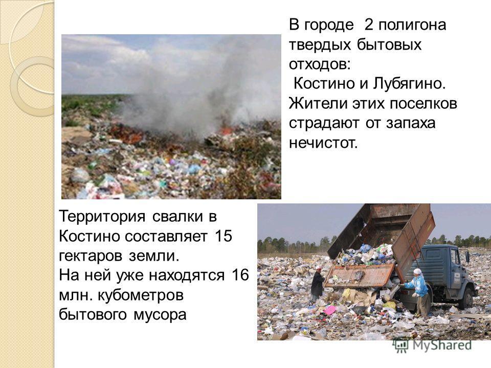 В городе 2 полигона твердых бытовых отходов: Костино и Лубягино. Жители этих поселков страдают от запаха нечистот. Территория свалки в Костино составляет 15 гектаров земли. На ней уже находятся 16 млн. кубометров бытового мусора