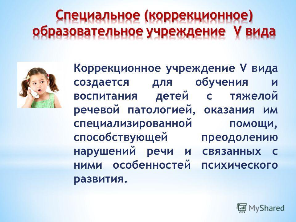Коррекционное учреждение V вида создается для обучения и воспитания детей с тяжелой речевой патологией, оказания им специализированной помощи, способствующей преодолению нарушений речи и связанных с ними особенностей психического развития.