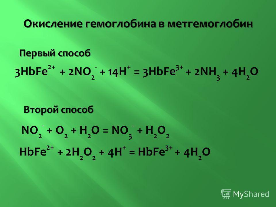 3HbFe 2+ + 2NO 2 - + 14H + = 3HbFe 3+ + 2NH 3 + 4H 2 O NO 2 - + O 2 + H 2 O = NO 3 - + H 2 O 2 HbFe 2+ + 2H 2 O 2 + 4H + = HbFe 3+ + 4H 2 O Окисление гемоглобина в метгемоглобин Первый способ Второй способ