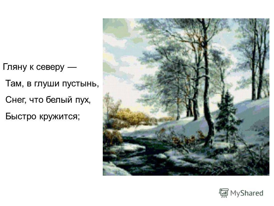 Гляну к северу Там, в глуши пустынь, Снег, что белый пух, Быстро кружится;