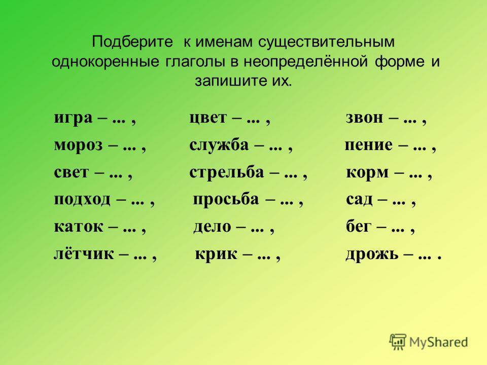 Подберите к именам существительным однокоренные глаголы в неопределённой форме и запишите их. игра –..., цвет –...,звон –..., мороз –..., служба –..., пение –..., свет –..., стрельба –...,корм –..., подход –..., просьба –...,сад –..., каток –..., дел