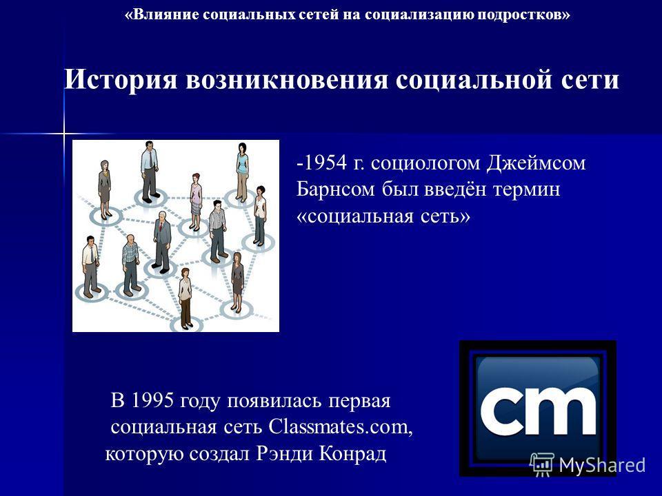 История возникновения социальной сети -1954 г. социологом Джеймсом Барнсом был введён термин «социальная сеть» В 1995 году появилась первая социальная сеть Classmates.com, которую создал Рэнди Конрад «Влияние социальных сетей на социализацию подростк