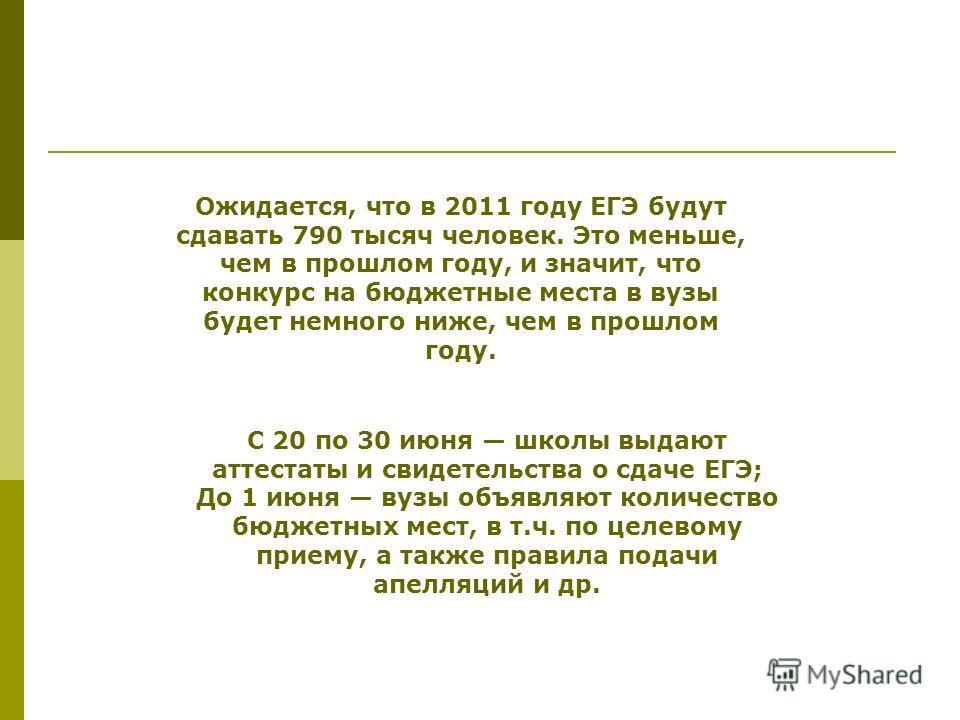 Ожидается, что в 2011 году ЕГЭ будут сдавать 790 тысяч человек. Это меньше, чем в прошлом году, и значит, что конкурс на бюджетные места в вузы будет немного ниже, чем в прошлом году. С 20 по 30 июня школы выдают аттестаты и свидетельства о сдаче ЕГЭ