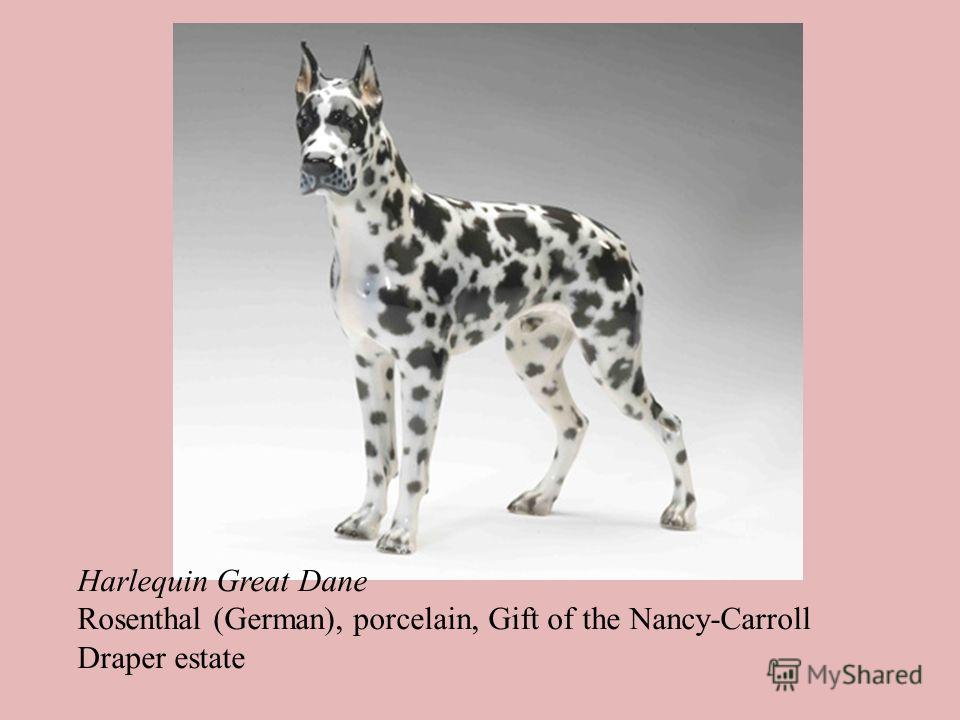 Harlequin Great Dane Rosenthal (German), porcelain, Gift of the Nancy-Carroll Draper estate