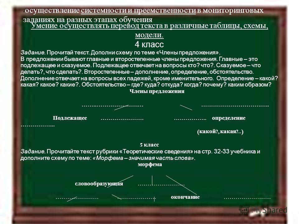 11.4.12 осуществление системности и преемственности в мониторинговых заданиях на разных этапах обучения Умение осуществлять перевод текста в различные таблицы, схемы, модели. 4 класс Задание. Прочитай текст. Дополни схему по теме «Члены предложения».