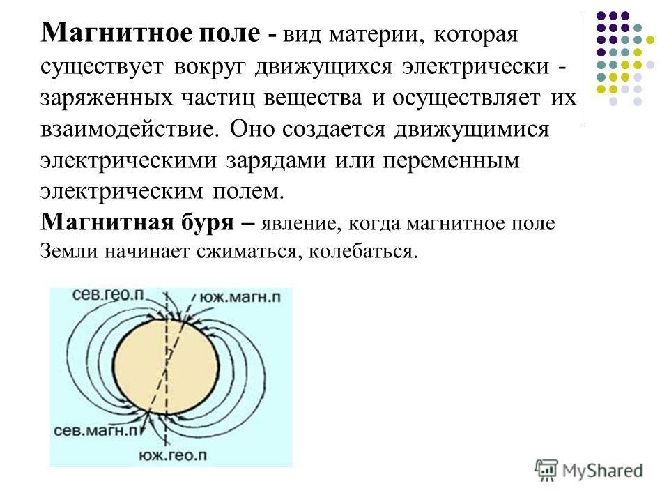 Магнитное поле - вид материи, которая существует вокруг движущихся электрически - заряженных частиц вещества и осуществляет их взаимодействие. Оно создается движущимися электрическими зарядами или переменным электрическим полем. Магнитная буря – явле