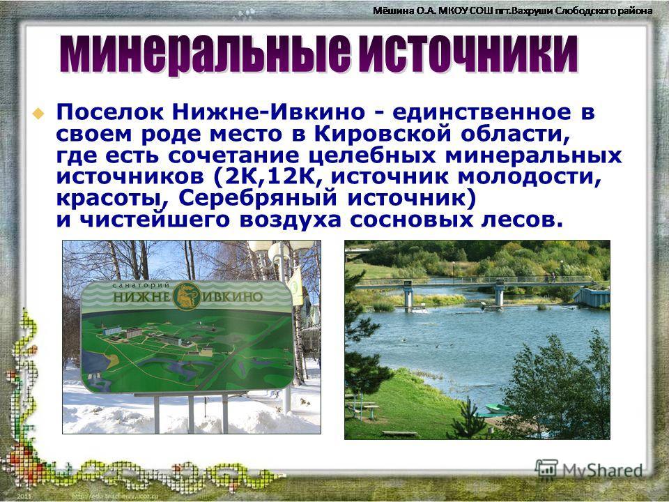 Поселок Нижне-Ивкино - единственное в своем роде место в Кировской области, где есть сочетание целебных минеральных источников (2К,12К, источник молодости, красоты, Серебряный источник) и чистейшего воздуха сосновых лесов.