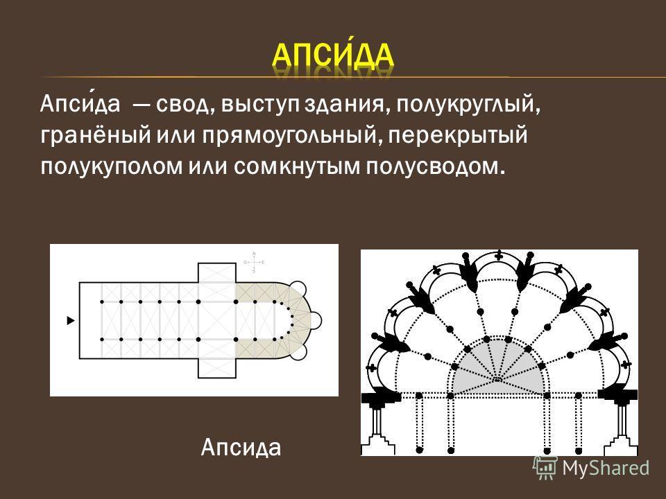 Апсида свод, выступ здания, полукруглый, гранёный или прямоугольный, перекрытый полукуполом или сомкнутым полусводом. Апсида