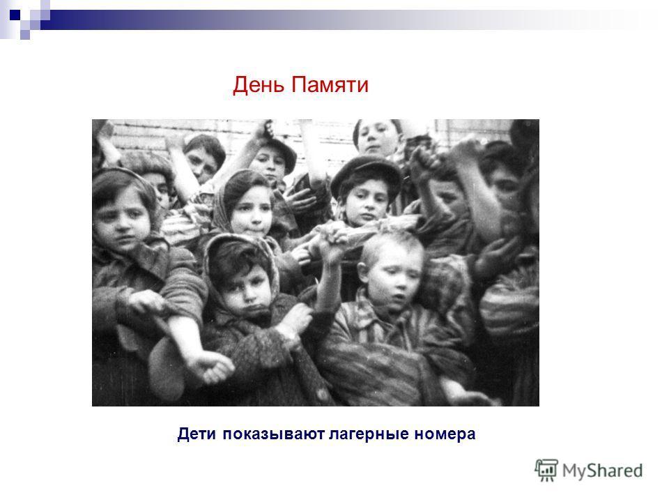 День Памяти Дети показывают лагерные номера