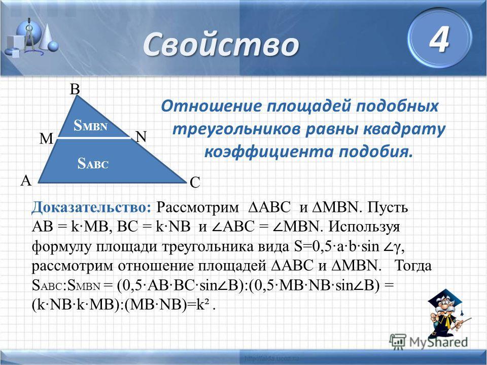 Отношение площадей подобных треугольников равны квадрату коэффициента подобия. Свойство S MBN B N C A M S ABC Доказательство: Рассмотрим ABC и MBN. Пусть AB = k·MB, BC = k·NB и ABC = MBN. Используя формулу площади треугольника вида S=0,5·a·b·sin γ, р