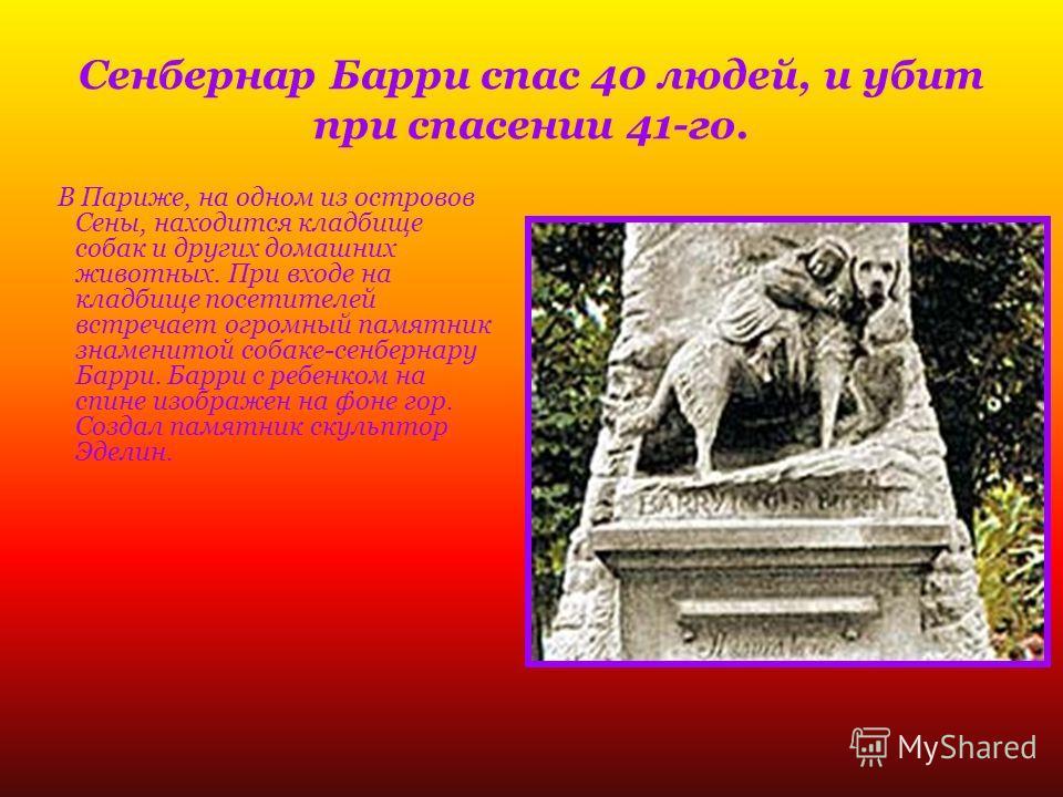 В Париже, на одном из островов Сены, находится кладбище собак и других домашних животных. При входе на кладбище посетителей встречает огромный памятник знаменитой собаке-сенбернару Барри. Барри с ребенком на спине изображен на фоне гор. Создал памятн