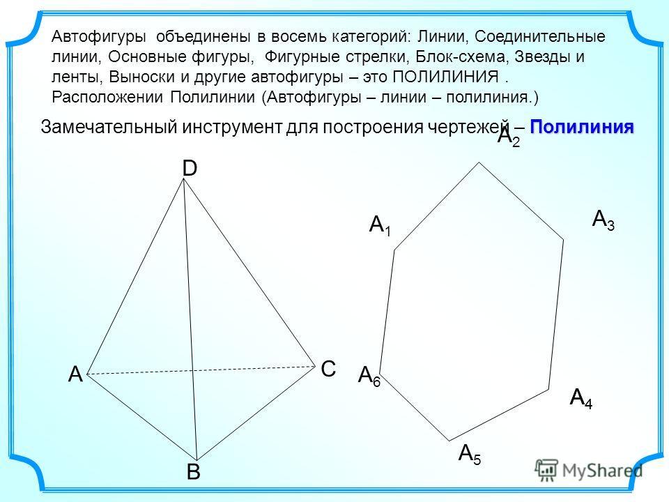 Полилиния Замечательный инструмент для построения чертежей – Полилиния А1А1 А2А2 А3А3 А4А4 А5А5 А6А6 А4А4 Автофигуры объединены в восемь категорий: Линии, Соединительные линии, Основные фигуры, Фигурные стрелки, Блок-схема, Звезды и ленты, Выноски и