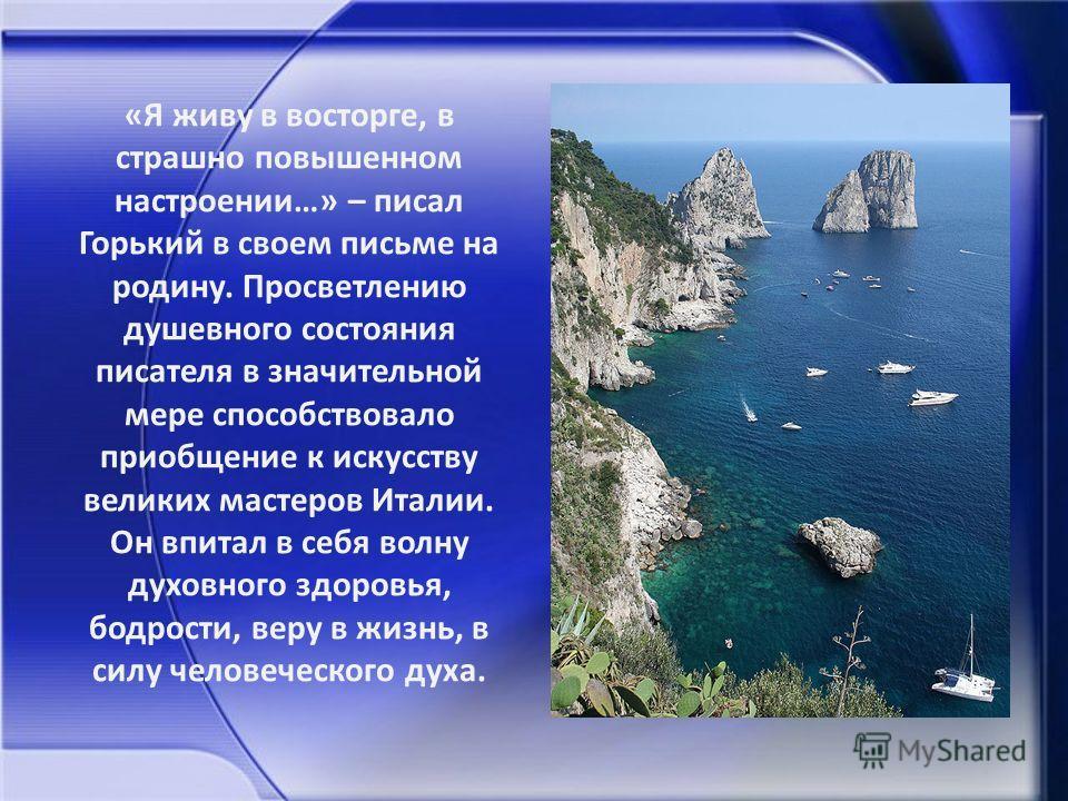 Цикл «Сказки об Италии» состоит из 27 произведений и был написан Горьким в 1911 году в Италии, на острове Капри.