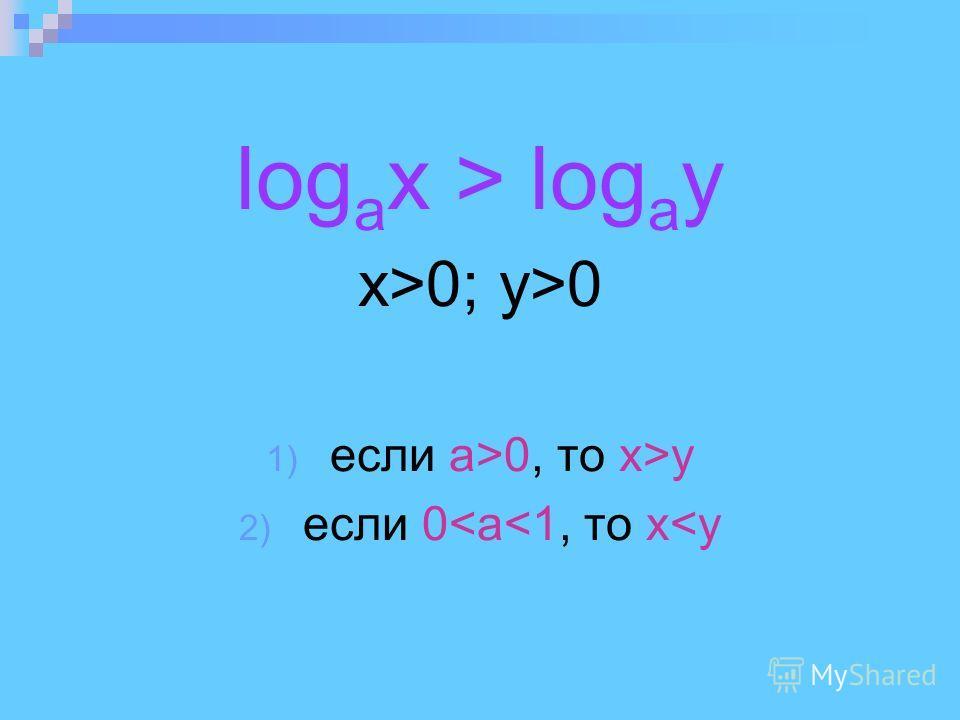 log a x > log a y x>0; y>0 1) если а>0, то x>y 2) если 0