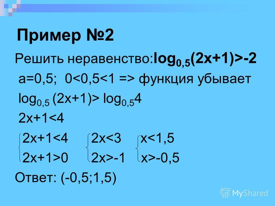 Пример 2 Решить неравенство: log 0,5 (2x+1)>-2 a=0,5; 0 функция убывает log 0,5 (2x+1)> log 0,5 4 2x+1