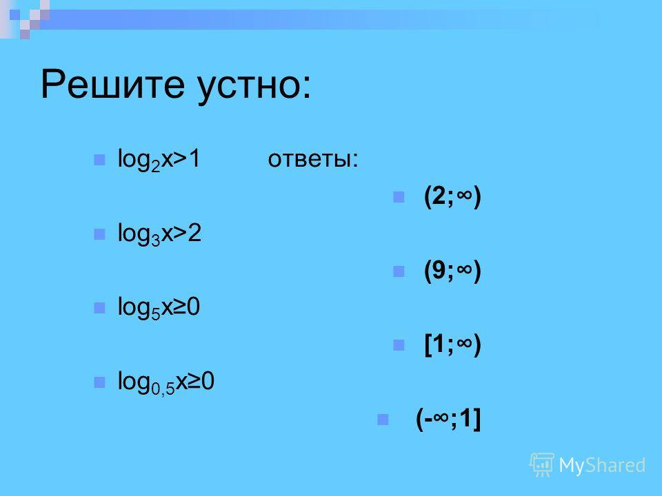 Решите устно: log 2 x>1 ответы: (2;) log 3 x>2 (9;) log 5 x0 [1;) log 0,5 x0 (-;1]