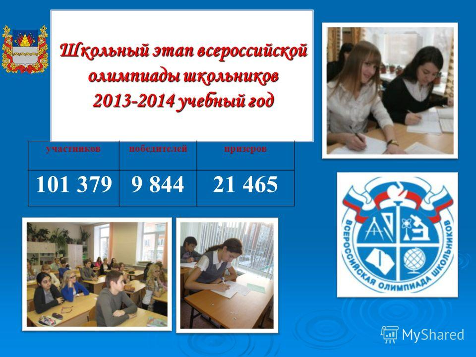 Школьный этап всероссийской олимпиады школьников 2013-2014 учебный год участников победителей призеров 101 3799 84421 465