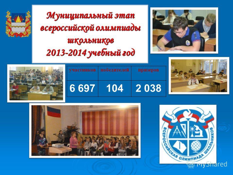Муниципальный этап всероссийской олимпиады школьников 2013-2014 учебный год участников победителей призеров 6 6971042 038