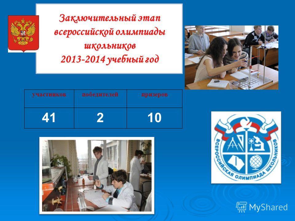 Заключительный этап всероссийской олимпиады школьников 2013-2014 учебный год участников победителей призеров 41210