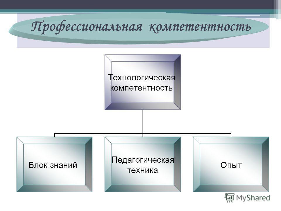 Технологическая компетентность Блок знаний Педагогическая техника Опыт Профессиональная компетентность