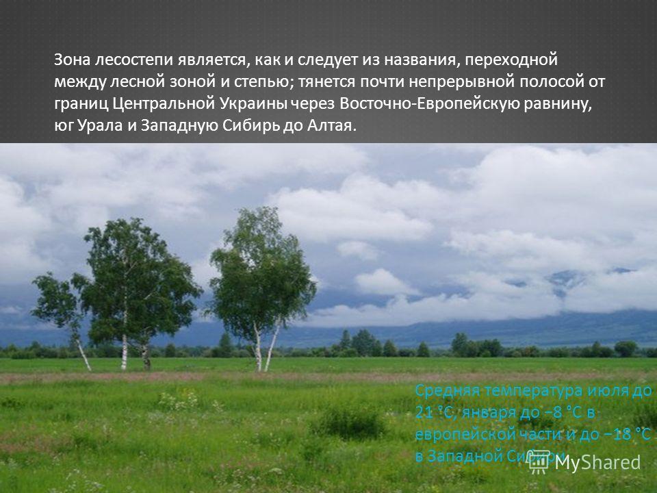 Зона лесостепи является, как и следует из названия, переходной между лесной зоной и степью ; тянется почти непрерывной полосой от границ Центральной Украины через Восточно - Европейскую равнину, юг Урала и Западную Сибирь до Алтая. Средняя температур