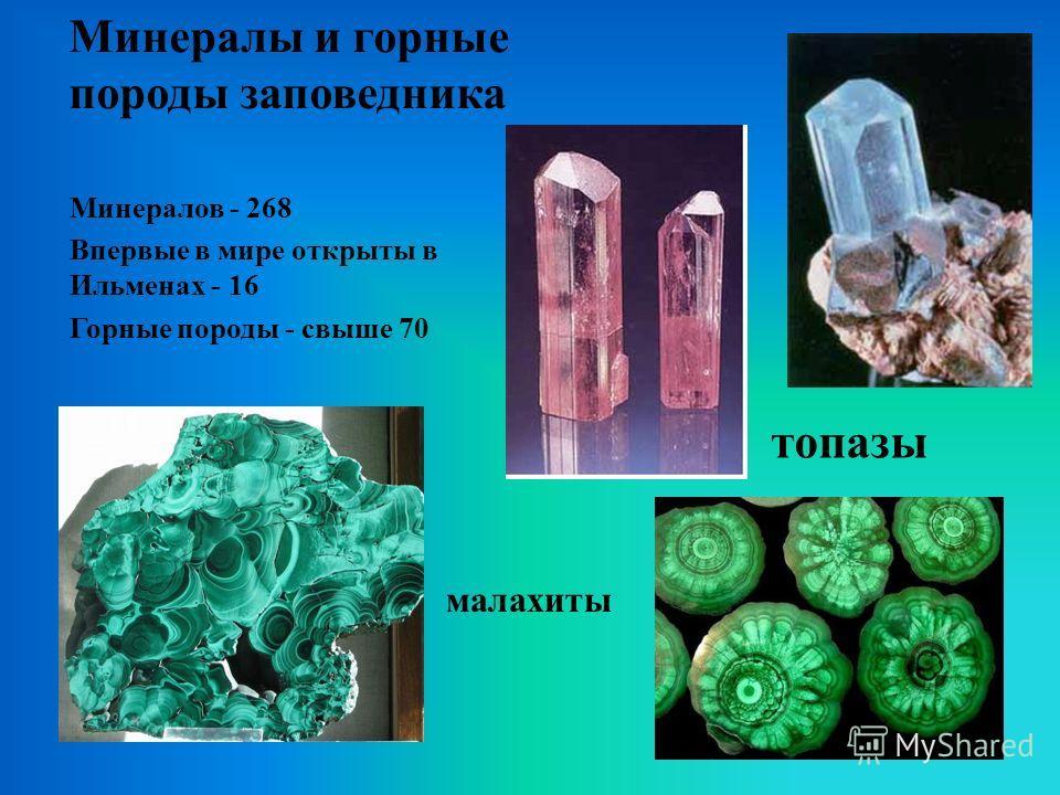 Минералы и горные породы заповедника топазы Минералов - 268 Впервые в мире открыты в Ильменах - 16 Горные породы - свыше 70 малахиты