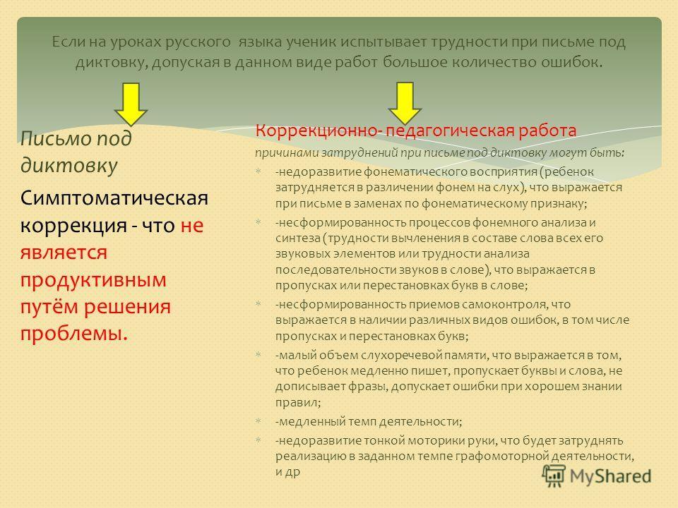 Если на уроках русского языка ученик испытывает трудности при письме под диктовку, допуская в данном виде работ большое количество ошибок. Письмо под диктовку Симптоматическая коррекция - что не является продуктивным путём решения проблемы. Коррекцио