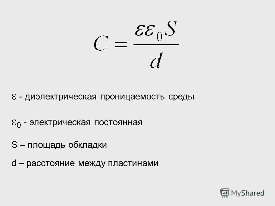 - диэлектрическая проницаемость среды 0 - электрическая постоянная S – площадь обкладки d – расстояние между пластинами