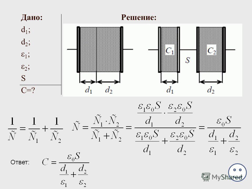 Дано: Решение: d 1 ; d 2 ; 1 ; 2 ; S С=? Ответ: