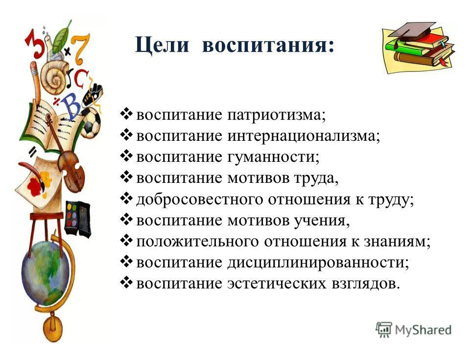 Цели воспитания: воспитание патриотизма; воспитание интернационализма; воспитание гуманности; воспитание мотивов труда, добросовестного отношения к труду; воспитание мотивов учения, положительного отношения к знаниям; воспитание дисциплинированности;
