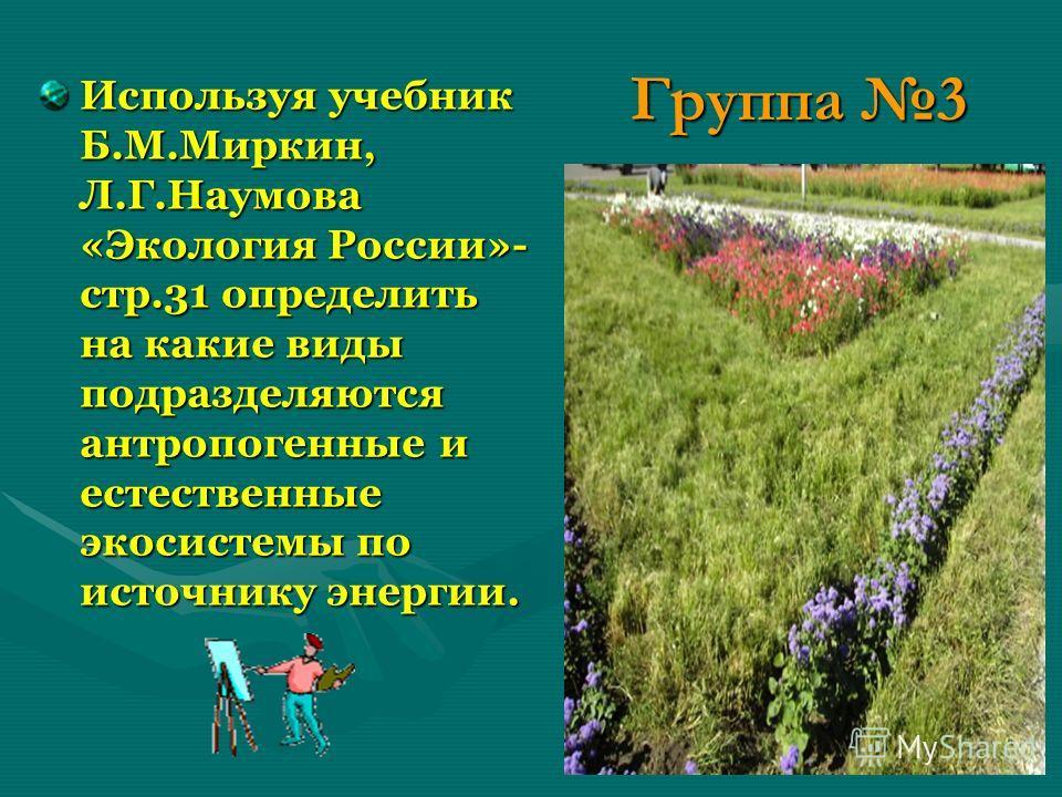 Группа 3 Используя учебник Б.М.Миркин, Л.Г.Наумова «Экология России»- стр.31 определить на какие виды подразделяются антропогенные и естественные экосистемы по источнику энергии.